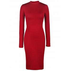 Back Cut Out Bodycon Dress with Long Sleeve