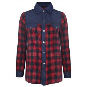 Trendy Shirt Collar Long Sleeve Color Spliced Plaid Shirt For Women