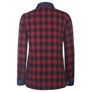 Trendy Shirt Collar Long Sleeve Color Spliced Plaid Shirt For Women -