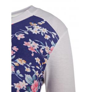 Trendy Scoop Neck Floral Printed Long Sleeve Baseball T-Shirt For Women - WHITE S