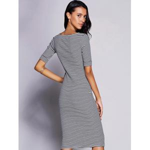 Stylish Keyhole Neck Striped Midi Dress For Women -