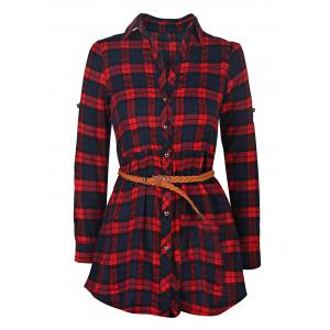 Plaid Long Sleeve Button Up Shirt Dress - Red - Xl