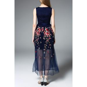 Embroidered Floral Tulle Dress in Blue -