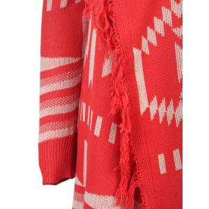 Casual Collarless Printed Tassel Hem Knitted Cardigan For Women - RED S