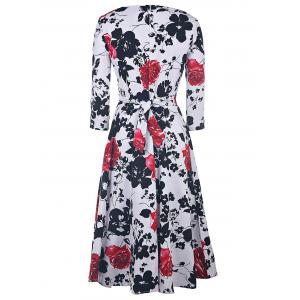 Vintage Style Round Neck 1/2 Sleeve Floral Print Women's Dress -