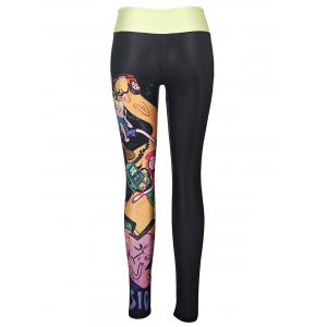 Street Style Cartoon Figure Print High Stretchy Yoga Leggings For Women -