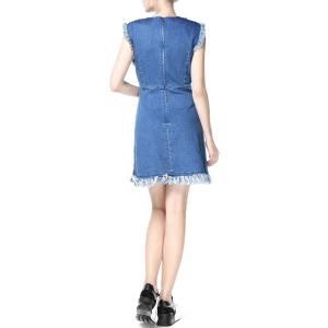 Denim Fringed Dress -