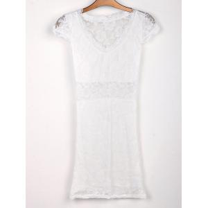 Sexy Plunging Neck Short Sleeve Hollow Out Bodycon Lace Women's Dress - White - One Size(fit Size Xs To M)