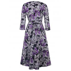 Vintage Style Round Neck 1/2 Sleeve Purple and Gray Flower Pattern Women's Dress - PURPLE L