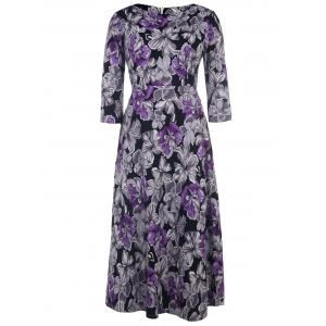 Vintage Style Round Neck 1/2 Sleeve Purple and Gray Flower Pattern Women's Dress