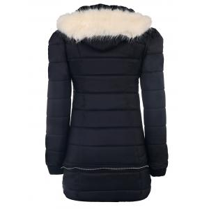 Chic Fur Hooded Long Sleeve Slimming Zip Up Pocket Design Women's Padded Coat -