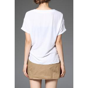 Solid Color T-Shirt and Flower Pleated Skirt Twinset -