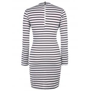 Sexy Round Neck Long Sleeve Striped Printed Bodycon Women's Dress -