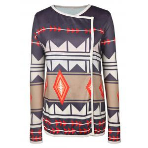 Trendy Turn-Down Neck Long Sleeve Geometric Pattern Women's Cardigan - Colormix - Xl