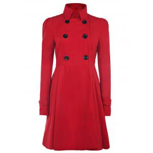 Fit and Flare Double Breasted Coat - Red - Xl