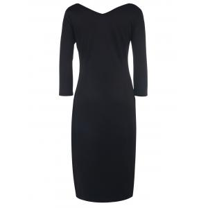 Sexy Square Neck 3/4 Sleeve Pure Color Bodycon Women's Dress -