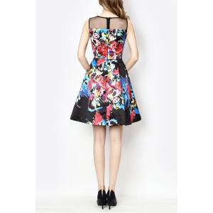 Sleeveless A Line Floral Race Day Dress -