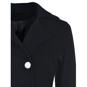 Elegant Turn-Down Collar Long Sleeve Ruffles Double-Breasted Women's Black Coat -
