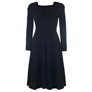 Elegant Sweetheart Neck Long Sleeve Solid Color Ruched Women's Dress