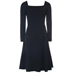 Elegant Sweetheart Neck Long Sleeve Solid Color Ruched Women's Dress -