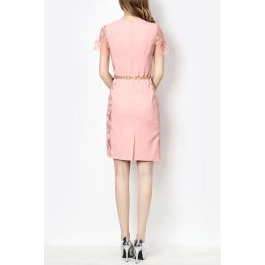 Sheer Sleeve Embroidered Dress With Belt -