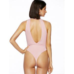 Alluring Round Neck Solid Color Cut Out One Piece Swimwear For Women -