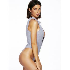 Alluring Round Neck Solid Color Cut Out One Piece Swimwear For Women - LIGHT GRAY L