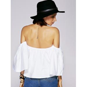 Charming Off The Shoulder Ruffled Women's Blouse - WHITE S