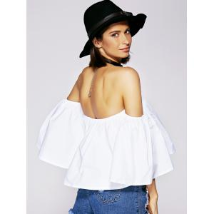 Charming Off The Shoulder Ruffled Women's Blouse - WHITE XL