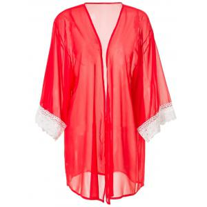 Stylish Collarless 3/4 Sleeve Loose-Fitting Laciness Women's Kimono Blouse - Red - M