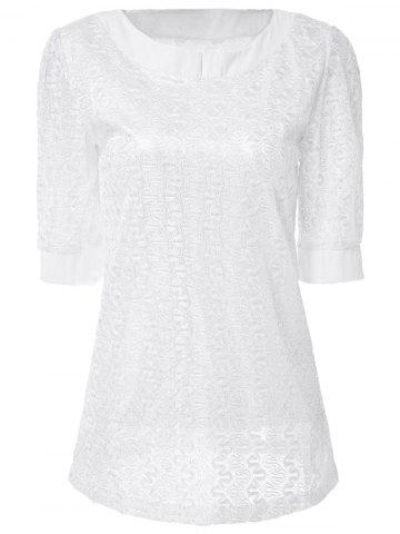 Fashion Sweet Scoop Neck Solid Color 1/2 Sleeve Lace Women's T-Shirt WHITE XL