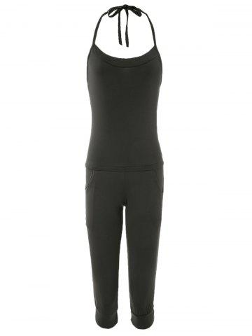 Shops Charming Halterneck Black Jumpsuit For Women - ONE SIZE BLACK Mobile