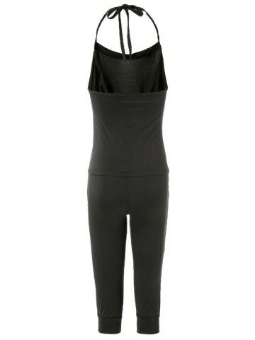 Sale Charming Halterneck Black Jumpsuit For Women - ONE SIZE BLACK Mobile