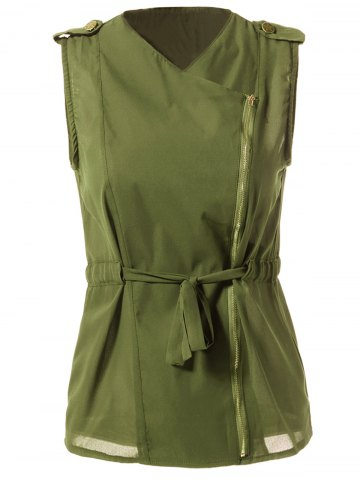 Best Stylish Turn-Down Collar Solid Color Chiffon Waistcoat For Women ARMY GREEN L