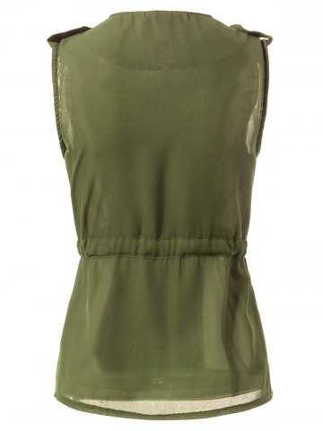 Shops Stylish Turn-Down Collar Solid Color Chiffon Waistcoat For Women - L ARMY GREEN Mobile
