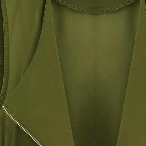 Store Stylish Turn-Down Collar Solid Color Chiffon Waistcoat For Women - L ARMY GREEN Mobile
