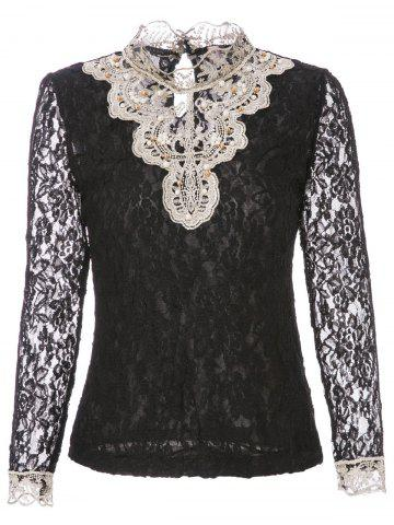 Store Beaded Lace Long Sleeve Top - S BLACK Mobile