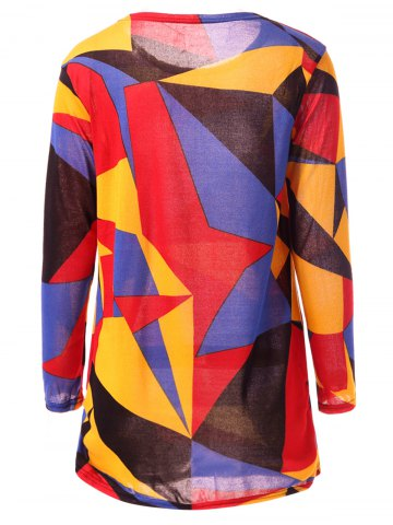 Discount Casual Long Sleeve Round Neck Geometric Print Women's T-Shirt - L COLORFUL Mobile