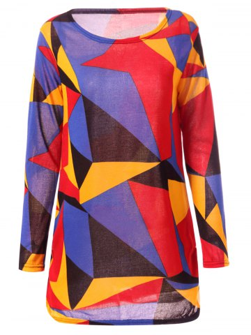 Best Casual Long Sleeve Round Neck Geometric Print Women's T-Shirt - L COLORFUL Mobile