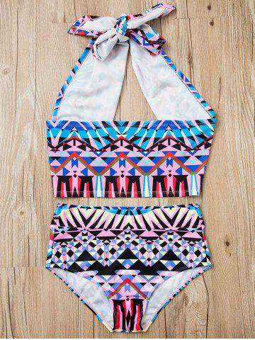 Online Halter Printed High-Waisted Bikini Set