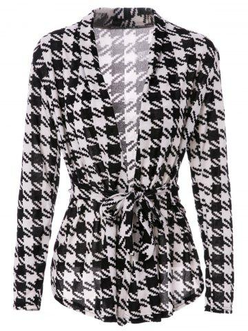 Unique Stylish Collarless Long Sleeve Plaid Special Cut Lace-Up Women's Coat