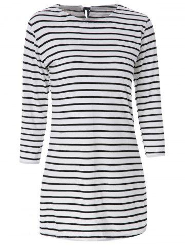 Latest Casual Scoop Neck Long Sleeves Striped Dress For Women