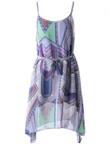 Best Bohemian Spaghetti Straps Belt Dress For Women COLORFUL GEOMETRIC L