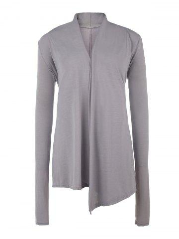 Cheap Stylish Women's Asymmetrical Pure Color Sequined Long Sleeve Cardigan - M GRAY Mobile