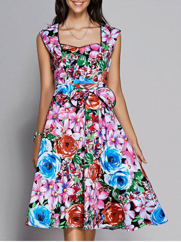 Store Floral Sweetheart Neck Knee Length Flare Dress COLORMIX S