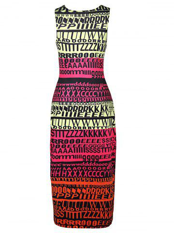 Outfits Stylish Round Neck Sleeveless Full Letter Print Women's Bodycon Sundress - S COLORMIX Mobile