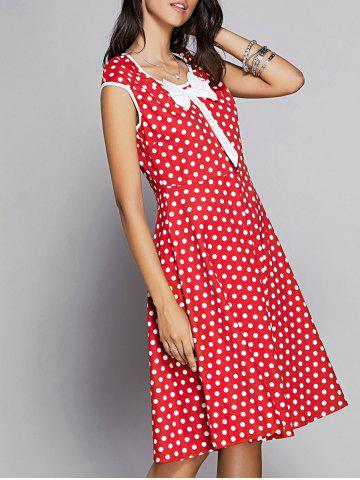 New Vintage Bowknot Embellished Polka Dot Women's Dress