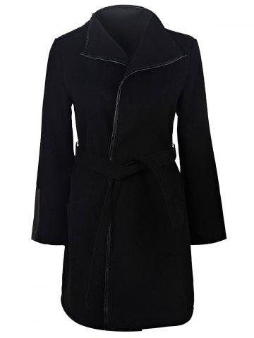 Fashion Stylish Turn-Down Neck Long Sleeve Solid Color Belted Women's Coat