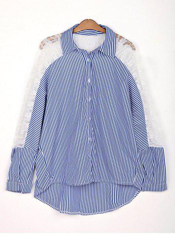 Outfit Stylish Shirt Collar 3/4 Sleeve Hollow Out Striped Women's Shirt AS THE PICTURE 2XL