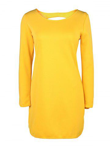 Hot Brief Style Round Collar Long Sleeve Yellow Hollow Out Women's Dress